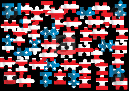 American flag stock vector clipart, Vector american flag - vector illustration by ojal_2