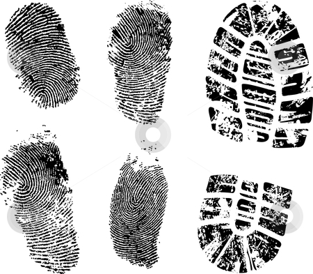 Fingerprints and bootprint stock vector clipart, Detailed finger and boot print - vector illustration by Ilyes Laszlo