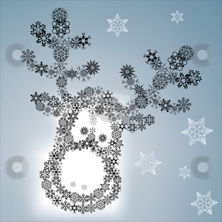 Christmas reindeer stock vector clipart, Christmas reindeer via different snowflakes - vector illustration by Ilyes Laszlo