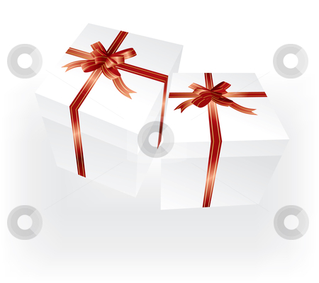 Gift boxes with red ribbons stock vector clipart, Vector white gift boxes with red ribbons by ojal_2