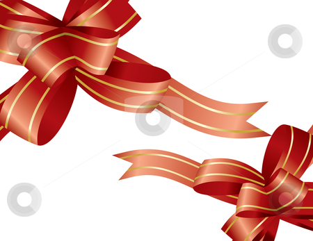Red ribbon and bow stock vector clipart, Red ribbon and bow - vector illustration by Ilyes Laszlo