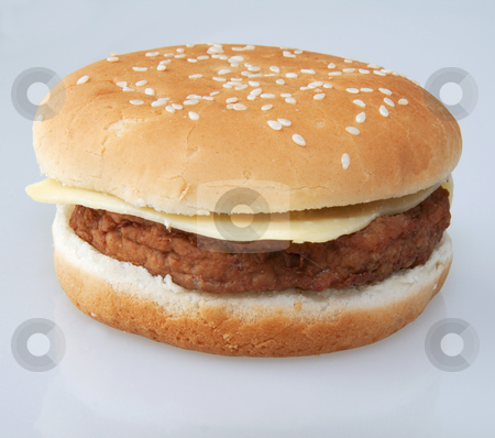 Cheeseburger stock photo, Isolated cheeseburger over a gray/white background by Fabio Alcini