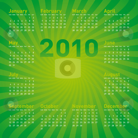Green Calendar 2010 stock vector clipart, Green Calendar for Year 2010, in vector format by Germán Ariel Berra