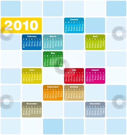Colorful Calendar for 2010 stock vector clipart, Colorful Calendar for year 2010 in vector format by Germán Ariel Berra