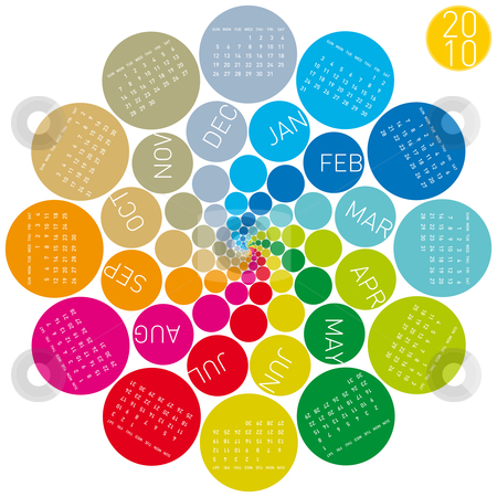 Colorful Calendar for 2010. stock vector clipart, Colorful Calendar for year 2010, rotating design, in vector format. by Germán Ariel Berra