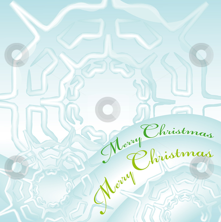 Merry christmas greeting card 3 stock vector clipart, Merry christmas greeting card with snow flakes ice cristal by Karin Claus