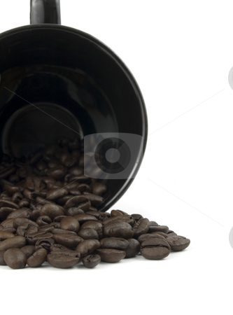 Coffee Cup spilling roasted beans stock photo, Black mug spilling roasted coffee beans on white by John Teeter