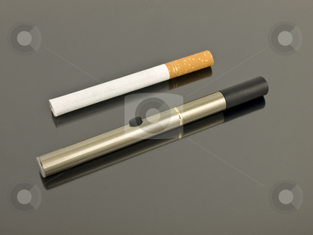 Electronic Cigarette with analog cigarette stock photo, Electronic Cigarette compared to an analog cigarette by John Teeter