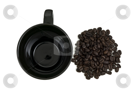 Aerial of Mug and Coffee Beans stock photo, Aerial view of a black mug and coffee beans by John Teeter