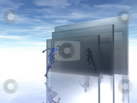 Speed stock photo, Man runs into a glass wound - 3d illustration by J?