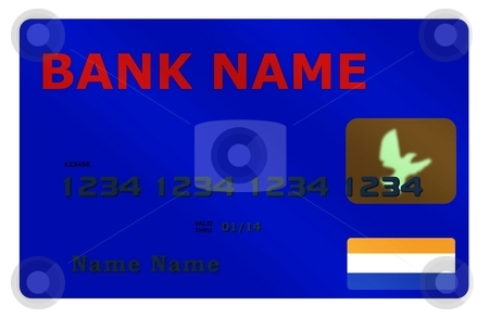 Blue Credit Card stock photo, Credit Card with red name on white background by Henrik Lehnerer