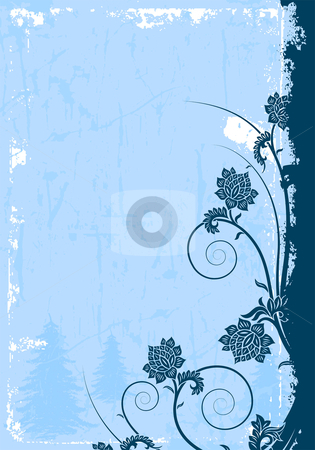 Grunge winter background stock vector clipart, Abstract grunge background with Christmas tree and flowers by Vadym Nechyporenko