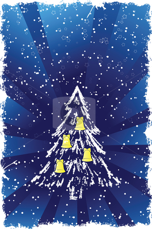 Christmas tree stock vector clipart, Abstract grunge background with Christmas tree and bells by Vadym Nechyporenko