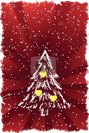 Christmas tree stock vector clipart, Abstract grunge background with Christmas tree and hearts by Vadym Nechyporenko