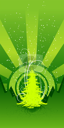 Christmas tree stock vector clipart, Abstract background with Christmas tree and scrolls by Vadym Nechyporenko