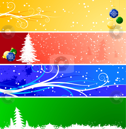 Christmas banners stock vector clipart, Four color Christmas banners by Vadym Nechyporenko