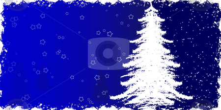 Grunge winter background stock vector clipart, Abstract grunge background with Christmas tree and stars by Vadym Nechyporenko