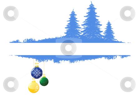 Background with Christmas tree stock vector clipart, Grunge background with Christmas tree and toys by Vadym Nechyporenko
