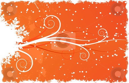 Winter background with snow stock vector clipart, Abstract winter background with scrolls and snow by Vadym Nechyporenko