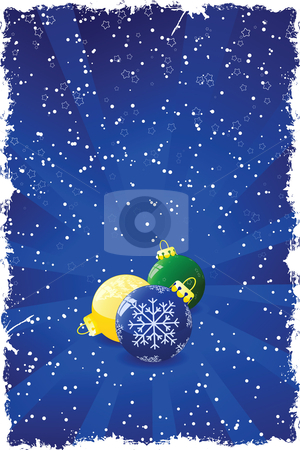 Grunge Christmas background stock vector clipart, Grunge Christmas background with toys rays stars and snow by Vadym Nechyporenko