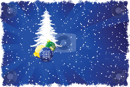 Background with Christmas tree stock vector clipart, Grunge background with Christmas tree toys rays and snow by Vadym Nechyporenko