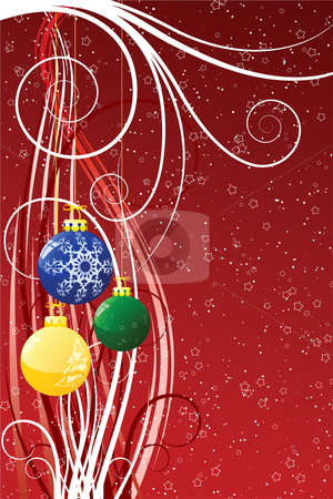 Abstract Christmas background stock vector clipart, Abstract Christmas background with toys scrolls stars and snow by Vadym Nechyporenko