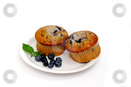 Two Muffins  stock photo, Blueberry muffins on a white plate with fresh berries on the side by Lynn Bendickson