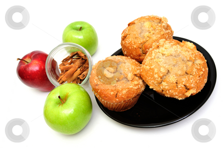 Apple Spice Muffin stock photo, Apple Spice muffins on a white background with 2 green granny smith, one red apple and cinnamon sticks by Lynn Bendickson