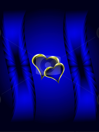 Blue and Gold Hearts Valentines Background stock vector clipart, A valentines vector illustration with a gold heart with room for text on a deep blue background by Mike Price