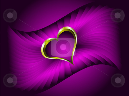A valentines vector illustration with a gold heart  stock vector clipart, A valentines vector illustration with a gold heart with room for text on a deep purple background by Mike Price