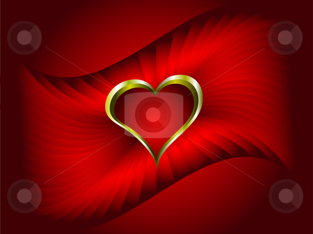 A vector valentines background with gold hearts on a deep red backdrop stock vector clipart, A vector valentines background with gold hearts on a deep red backdrop with room for text by Mike Price