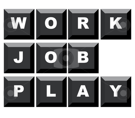 Work Job and Play stock photo, Words work, job and play spelled on black computer keyboard, isolated on white background. by Martin Crowdy