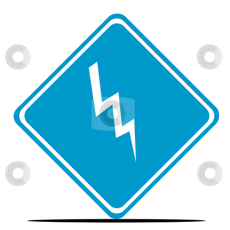Danger lightning sign stock photo, Lightning danger road sign isolated on white background. by Martin Crowdy