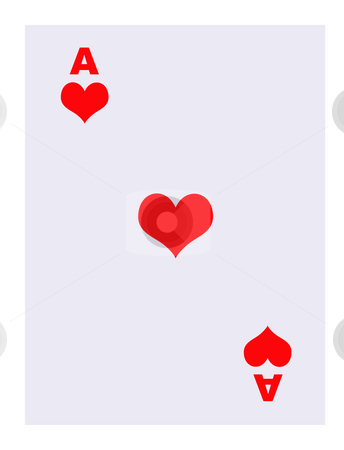 Ace of Hearts playing card stock photo, Ace of hearts playing card, isolated on white background. by Martin Crowdy