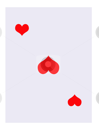 Blank Hearts playing card stock photo, Blank Hearts suit playing card, isolated on white background. by Martin Crowdy