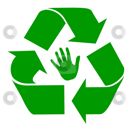 Recycling symbol stock photo, Green human recycling symbol with hand print isolated on white background. by Martin Crowdy