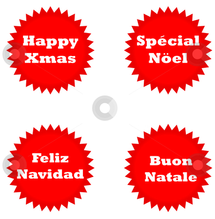 European happy Christmas stickers stock photo, Set of four Happy Christmas stickers isolated on white background in English, Italian, Spanish and French languages. by Martin Crowdy