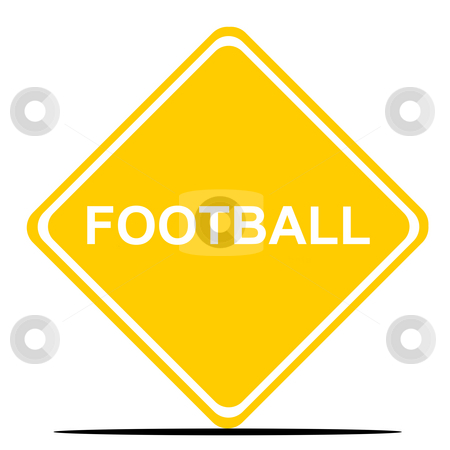 Football road sign stock photo, Football or soccer sign isolated on white background. by Martin Crowdy