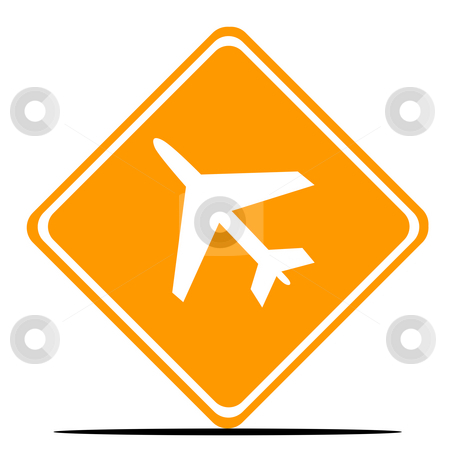 Airport sign stock photo, Aircraft or airport sign isolated on white background. by Martin Crowdy