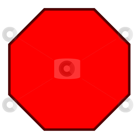Blank red hexagonal sign stock photo, Blank red hexagonal sign isolated on white background. by Martin Crowdy