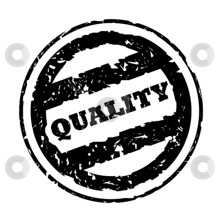 Used black quality stamp stock photo, Used black quality business stamp, isolated on white background. by Martin Crowdy