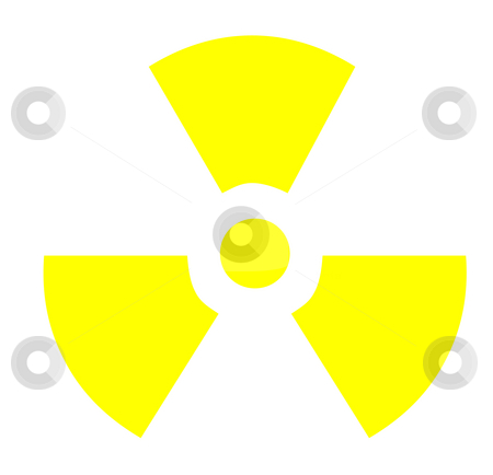 Radioactive symbol stock photo, Yellow radioactive symbol, isolated on white background. by Martin Crowdy