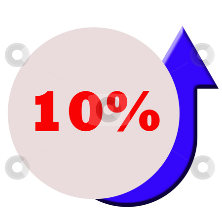 Ten percent increase stock photo, Upturned blue directional arrow on circular button with copy space, by Martin Crowdy