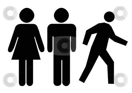 People silhouettes stock photo, People silhouetted isolated on white background. by Martin Crowdy