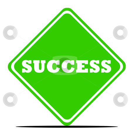 Success road sign stock photo, Green success road sign isolated on white background. by Martin Crowdy