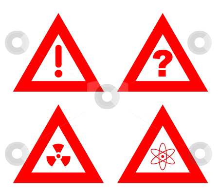 Hazard warning signs stock photo, Traiangular red hazard warning signs isolated on white background. by Martin Crowdy