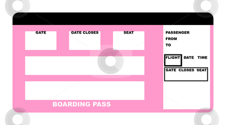 Boarding pass stock photo, Illustration of blank airline boarding pass ticket, isolated on white background. by Martin Crowdy