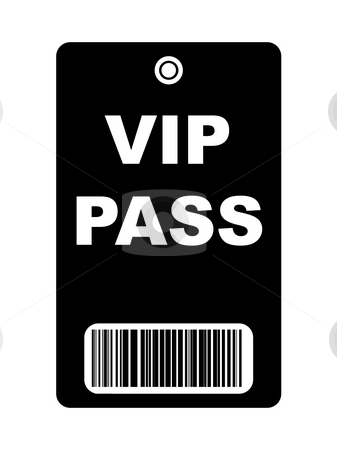 Black VIP Pass stock photo, Black VIP access pass with bar code, isolated on white background. by Martin Crowdy