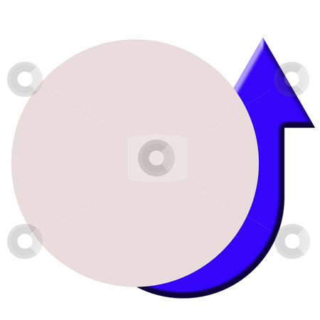 Upturned button stock photo, Upturned blue directional arrow on circular button with copy space, by Martin Crowdy