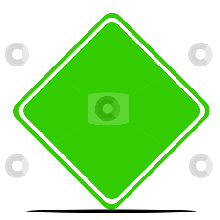 Blank green road sign stock photo, Blank green road sign isolated on white background. by Martin Crowdy
